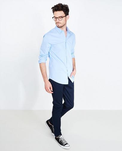 Marineblauw effen hemd met slim fit